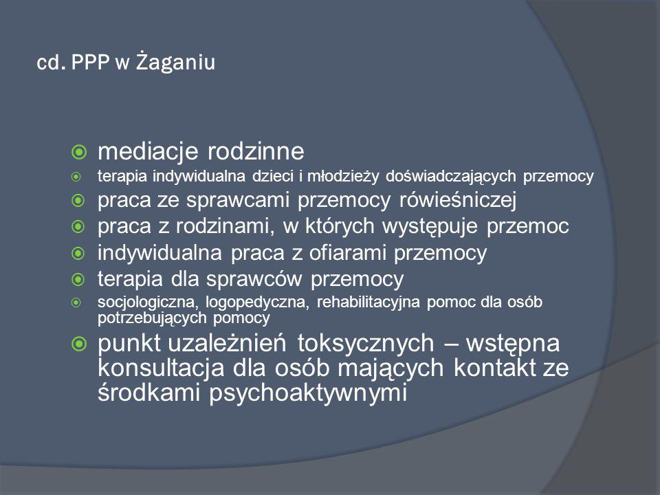 cd. PPP w Żaganiu mediacje rodzinne terapia indywidualna dzieci i młodzieży doświadczających przemocy praca ze sprawcami przemocy rówieśniczej praca z