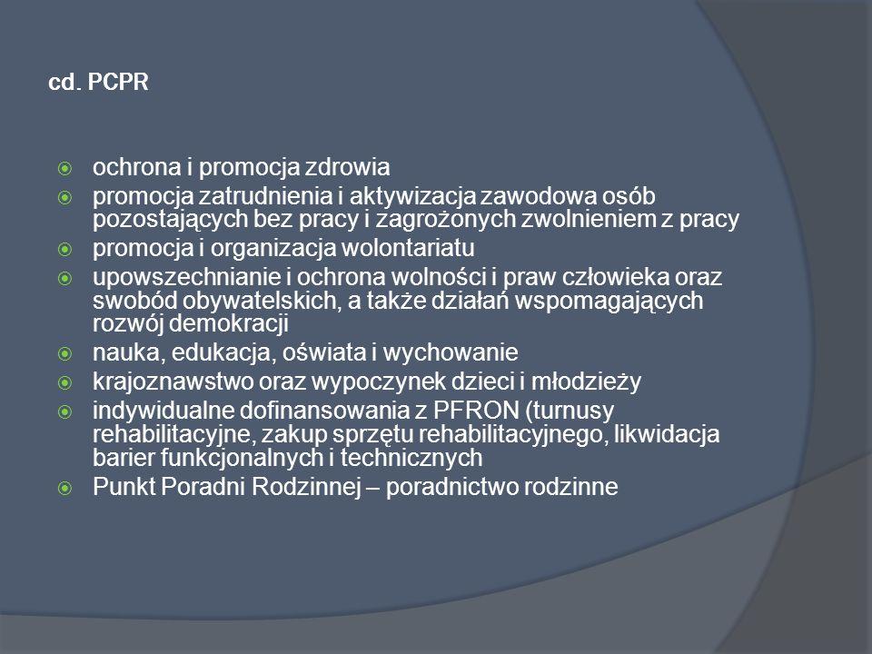 cd. PCPR ochrona i promocja zdrowia promocja zatrudnienia i aktywizacja zawodowa osób pozostających bez pracy i zagrożonych zwolnieniem z pracy promoc