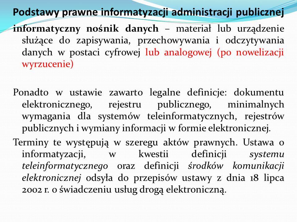 Podstawy prawne informatyzacji administracji publicznej informatyczny nośnik danych – materiał lub urządzenie służące do zapisywania, przechowywania i