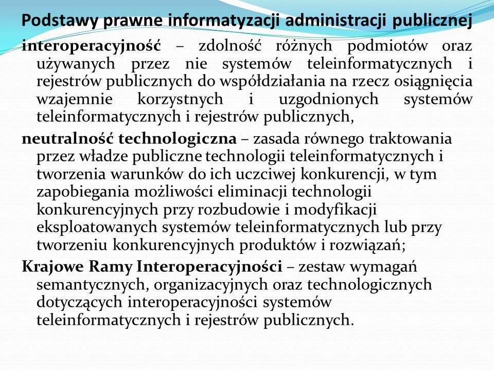 Podstawy prawne informatyzacji administracji publicznej interoperacyjność – zdolność różnych podmiotów oraz używanych przez nie systemów teleinformaty