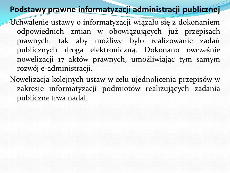 Podstawy prawne informatyzacji administracji publicznej Uchwalenie ustawy o informatyzacji wiązało się z dokonaniem odpowiednich zmian w obowiązującyc