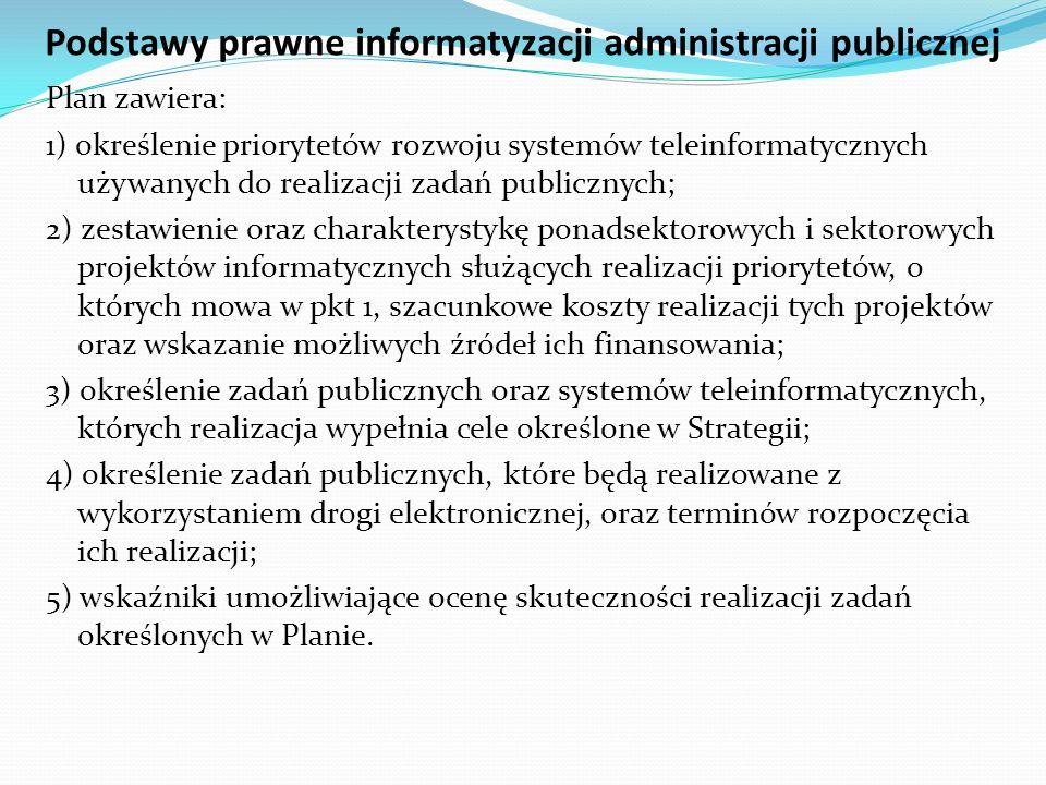 Podstawy prawne informatyzacji administracji publicznej Plan zawiera: 1) określenie priorytetów rozwoju systemów teleinformatycznych używanych do real
