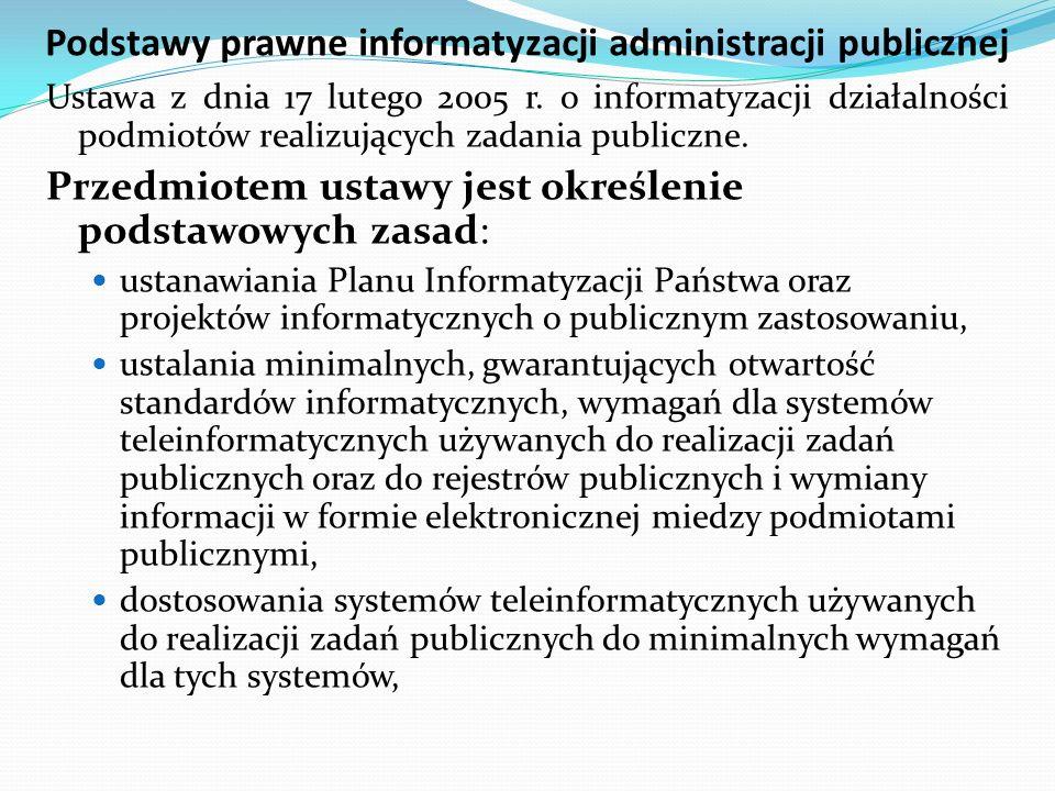 Podstawy prawne informatyzacji administracji publicznej Ustawa z dnia 17 lutego 2005 r. o informatyzacji działalności podmiotów realizujących zadania