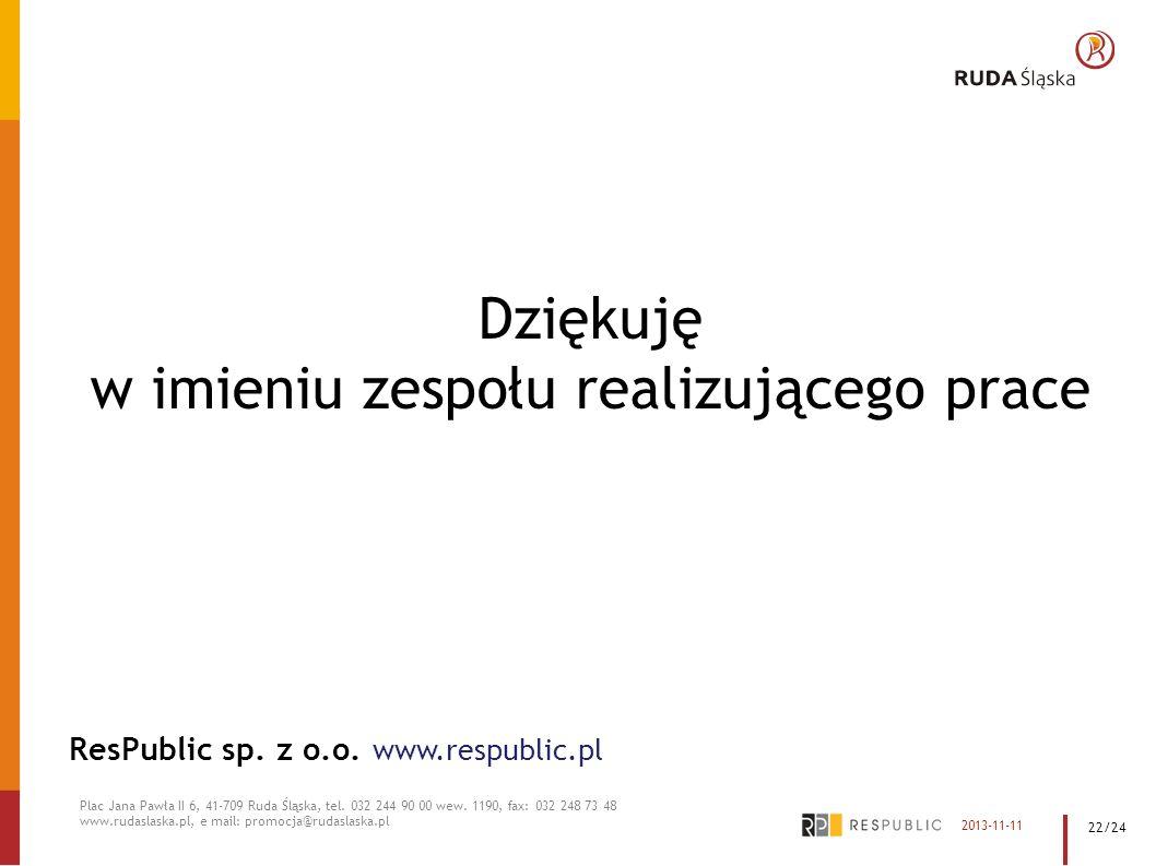 Dziękuję w imieniu zespołu realizującego prace ResPublic sp. z o.o. www.respublic.pl Plac Jana Pawła II 6, 41-709 Ruda Śląska, tel. 032 244 90 00 wew.