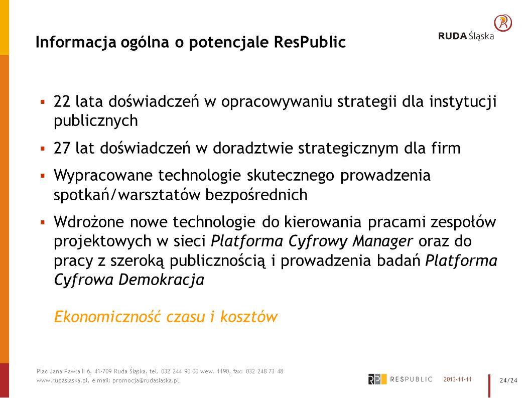Informacja ogólna o potencjale ResPublic 22 lata doświadczeń w opracowywaniu strategii dla instytucji publicznych 27 lat doświadczeń w doradztwie stra