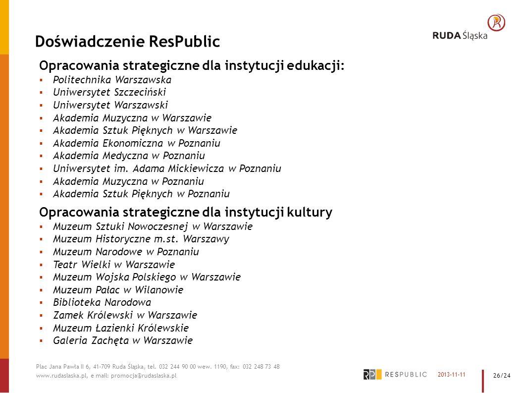 Doświadczenie ResPublic Opracowania strategiczne dla instytucji edukacji: Politechnika Warszawska Uniwersytet Szczeciński Uniwersytet Warszawski Akade