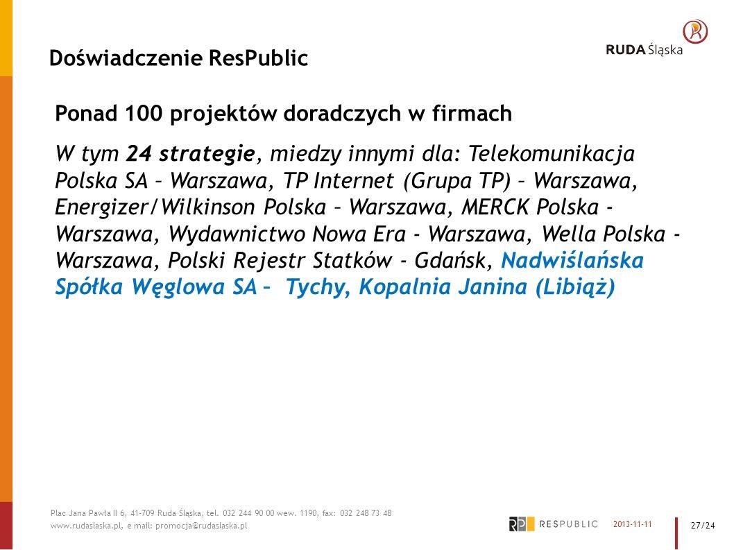 Doświadczenie ResPublic Ponad 100 projektów doradczych w firmach W tym 24 strategie, miedzy innymi dla: Telekomunikacja Polska SA – Warszawa, TP Inter