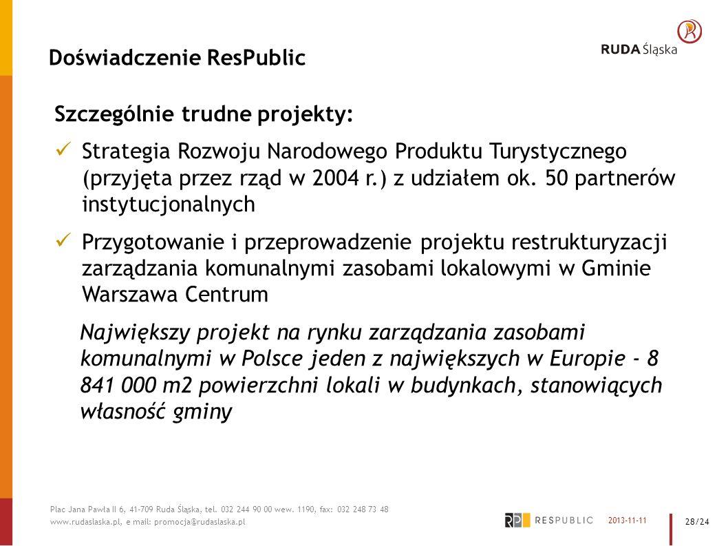 Doświadczenie ResPublic Szczególnie trudne projekty: Strategia Rozwoju Narodowego Produktu Turystycznego (przyjęta przez rząd w 2004 r.) z udziałem ok