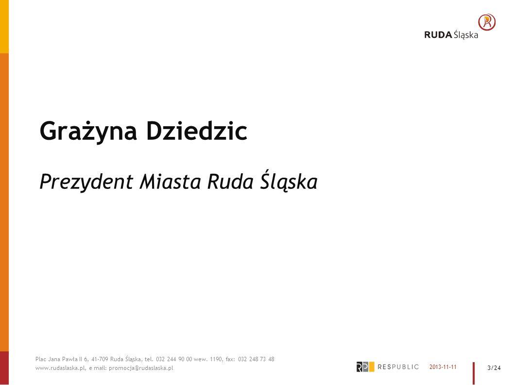 Grażyna Dziedzic Prezydent Miasta Ruda Śląska 2013-11-11 Plac Jana Pawła II 6, 41-709 Ruda Śląska, tel. 032 244 90 00 wew. 1190, fax: 032 248 73 48 ww