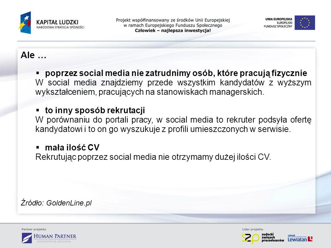 Ale … poprzez social media nie zatrudnimy osób, które pracują fizycznie W social media znajdziemy przede wszystkim kandydatów z wyższym wykształceniem