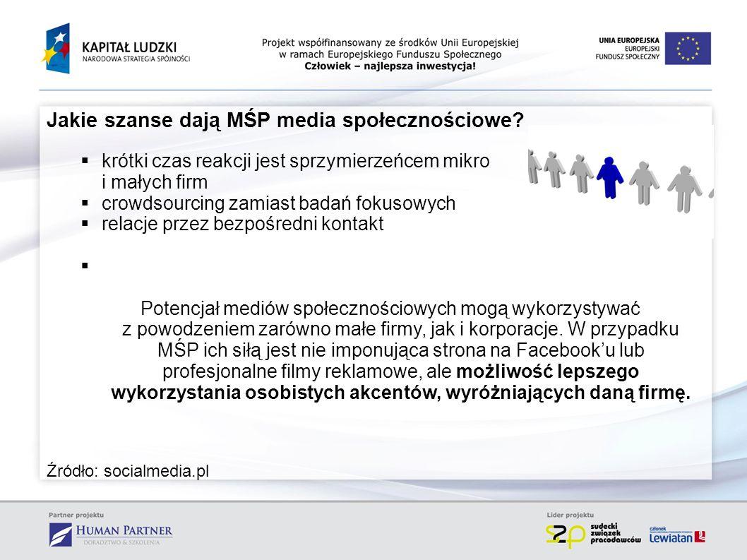 Jakie szanse dają MŚP media społecznościowe? krótki czas reakcji jest sprzymierzeńcem mikro i małych firm crowdsourcing zamiast badań fokusowych relac