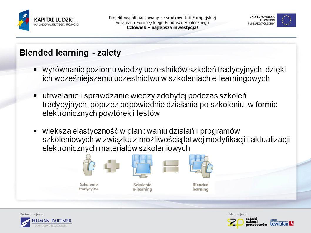 Blended learning - zalety wyrównanie poziomu wiedzy uczestników szkoleń tradycyjnych, dzięki ich wcześniejszemu uczestnictwu w szkoleniach e-learningo