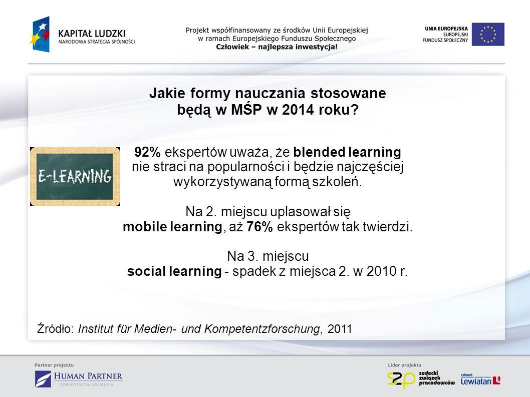 Jakie formy nauczania stosowane będą w MŚP w 2014 roku? 92% ekspertów uważa, że blended learning nie straci na popularności i będzie najczęściej wykor