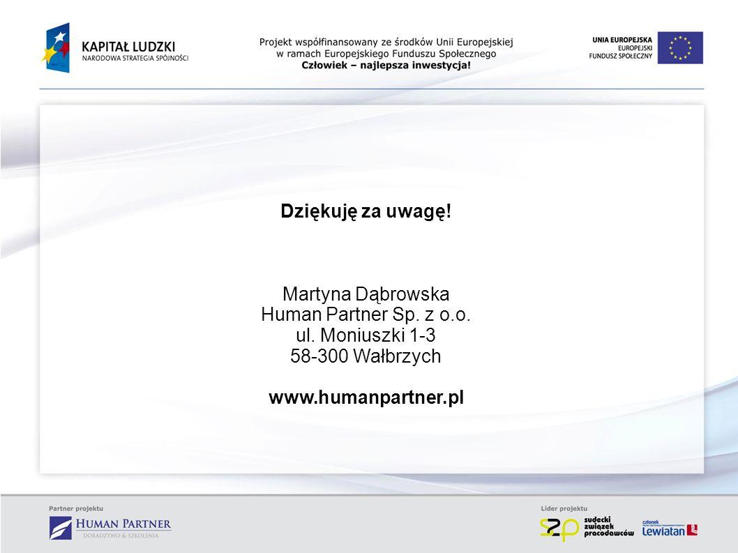 Dziękuję za uwagę! Martyna Dąbrowska Human Partner Sp. z o.o. ul. Moniuszki 1-3 58-300 Wałbrzych www.humanpartner.pl