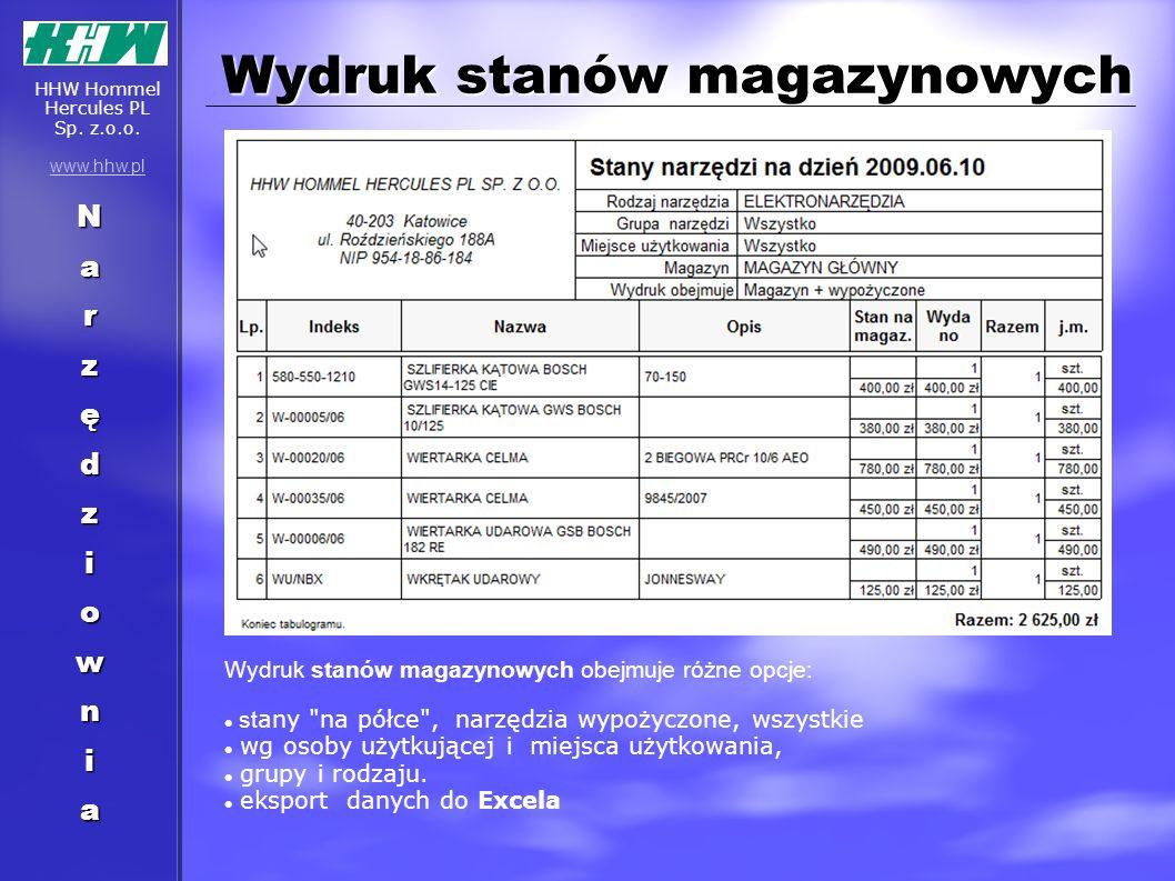 Wydruk stanów magazynowych Wydruk stanów magazynowych obejmuje różne opcje: st any