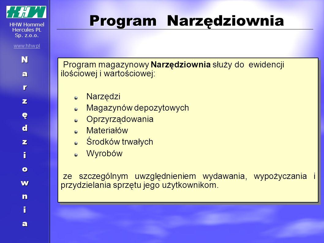 Program Narzędziownia Narzędziownia Program magazynowy Narzędziownia służy do ewidencji ilościowej i wartościowej: Narzędzi Magazynów depozytowych Opr