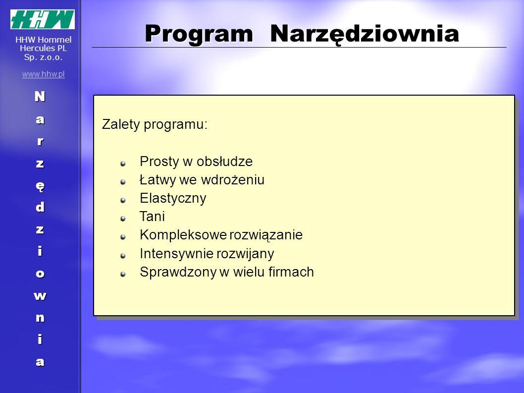 Program Narzędziownia Narzędziownia Zalety programu: Prosty w obsłudze Łatwy we wdrożeniu Elastyczny Tani Kompleksowe rozwiązanie Intensywnie rozwijan
