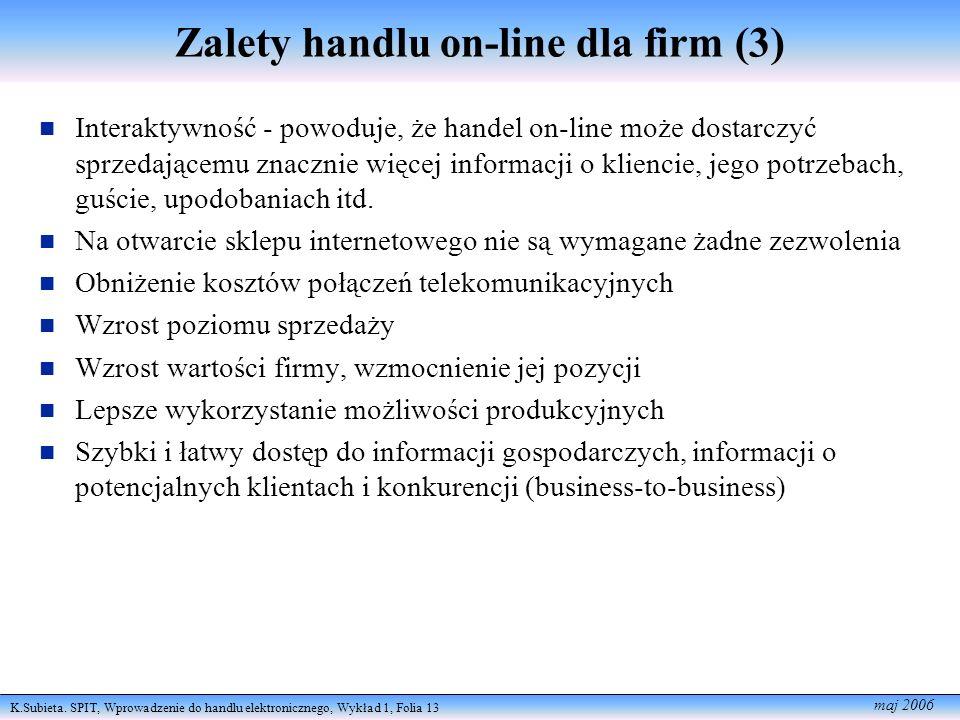 K.Subieta. SPIT, Wprowadzenie do handlu elektronicznego, Wykład 1, Folia 13 maj 2006 Zalety handlu on-line dla firm (3) Interaktywność - powoduje, że