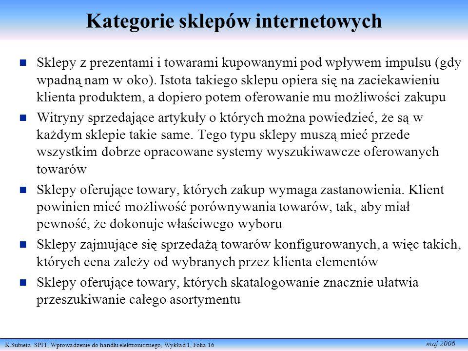 K.Subieta. SPIT, Wprowadzenie do handlu elektronicznego, Wykład 1, Folia 16 maj 2006 Kategorie sklepów internetowych Sklepy z prezentami i towarami ku
