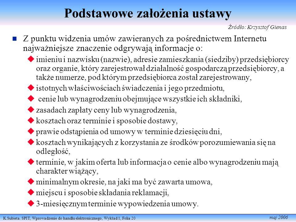 K.Subieta. SPIT, Wprowadzenie do handlu elektronicznego, Wykład 1, Folia 20 maj 2006 Podstawowe założenia ustawy Z punktu widzenia umów zawieranych za