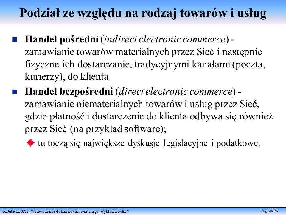 K.Subieta. SPIT, Wprowadzenie do handlu elektronicznego, Wykład 1, Folia 8 maj 2006 Podział ze względu na rodzaj towarów i usług Handel pośredni (indi