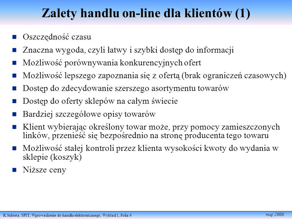 K.Subieta. SPIT, Wprowadzenie do handlu elektronicznego, Wykład 1, Folia 9 maj 2006 Zalety handlu on-line dla klientów (1) Oszczędność czasu Znaczna w
