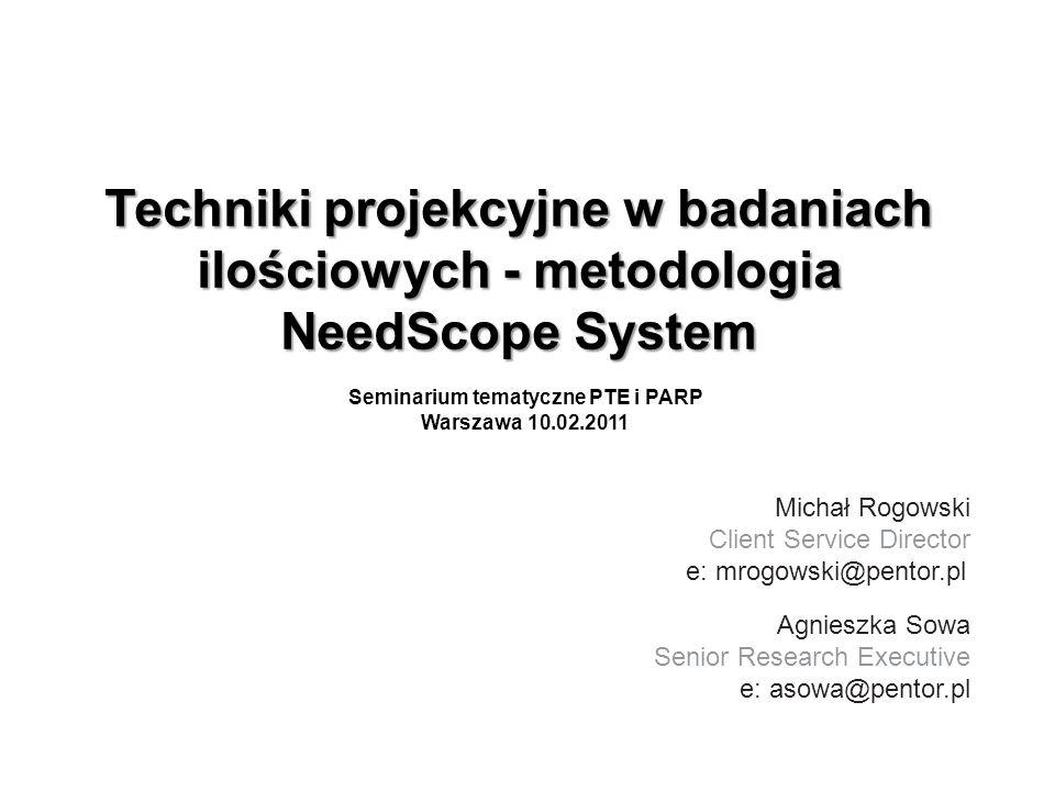 Techniki projekcyjne w badaniach ilościowych - metodologia NeedScope System Seminarium tematyczne PTE i PARP Warszawa 10.02.2011 Michał Rogowski Clien