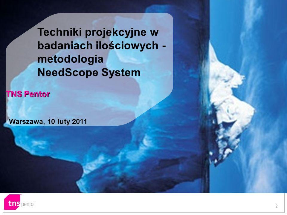 2 Techniki projekcyjne w badaniach ilościowych - metodologia NeedScope System TNS Pentor Warszawa, 10 luty 2011