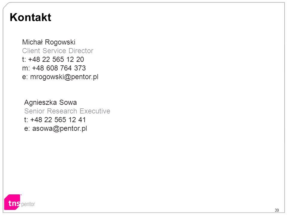 39 Kontakt Michał Rogowski Client Service Director t: +48 22 565 12 20 m: +48 608 764 373 e: mrogowski@pentor.pl Agnieszka Sowa Senior Research Execut