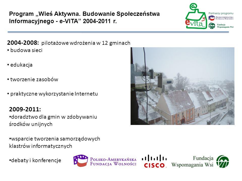 Program Wieś Aktywna. Budowanie Społeczeństwa Informacyjnego - e-VITA 2004-2011 r. 2004-2008: pilotażowe wdrożenia w 12 gminach budowa sieci edukacja