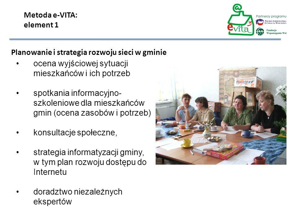 ocena wyjściowej sytuacji mieszkańców i ich potrzeb spotkania informacyjno- szkoleniowe dla mieszkańców gmin (ocena zasobów i potrzeb) konsultacje spo