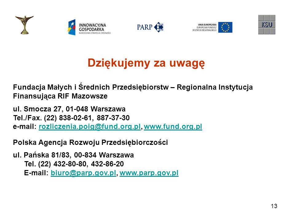 13 Dziękujemy za uwagę Fundacja Małych i Średnich Przedsiębiorstw – Regionalna Instytucja Finansująca RIF Mazowsze ul. Smocza 27, 01-048 Warszawa Tel.