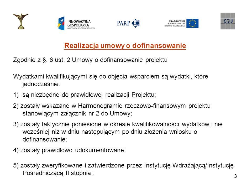 3 Realizacja umowy o dofinansowanie Zgodnie z §. 6 ust. 2 Umowy o dofinansowanie projektu Wydatkami kwalifikującymi się do objęcia wsparciem są wydatk