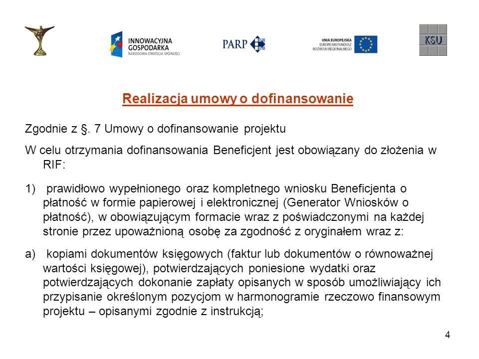 4 Realizacja umowy o dofinansowanie Zgodnie z §. 7 Umowy o dofinansowanie projektu W celu otrzymania dofinansowania Beneficjent jest obowiązany do zło