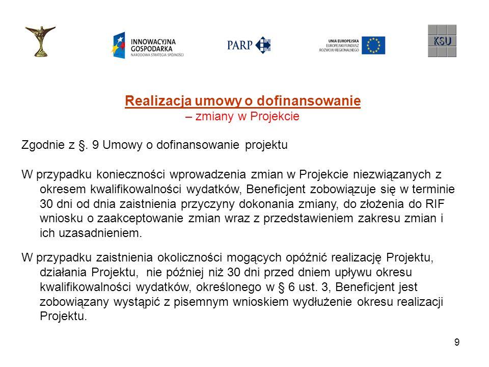 9 Realizacja umowy o dofinansowanie – zmiany w Projekcie Zgodnie z §. 9 Umowy o dofinansowanie projektu W przypadku konieczności wprowadzenia zmian w