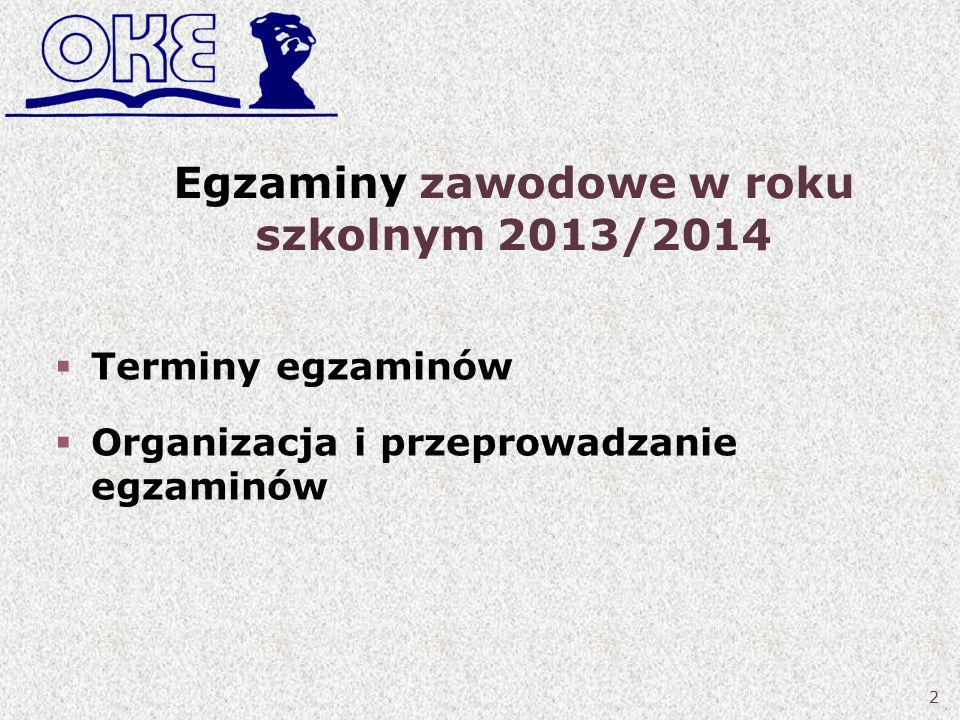 Egzaminy zawodowe w roku szkolnym 2013/2014 Terminy egzaminów Organizacja i przeprowadzanie egzaminów 2