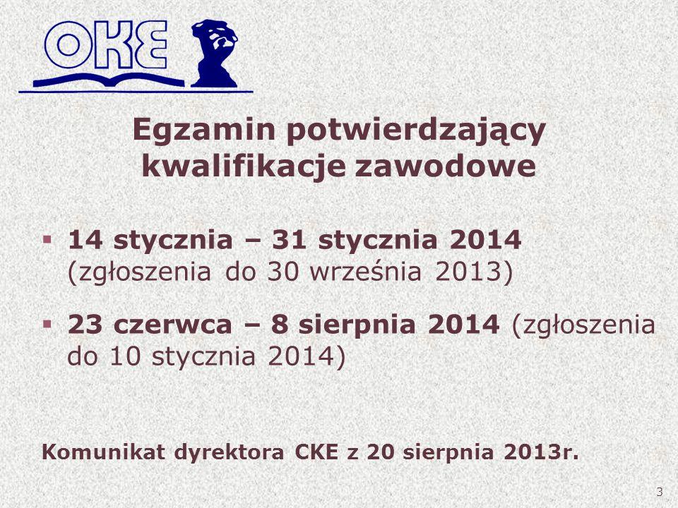 Egzamin potwierdzający kwalifikacje zawodowe 14 stycznia – 31 stycznia 2014 (zgłoszenia do 30 września 2013) 23 czerwca – 8 sierpnia 2014 (zgłoszenia