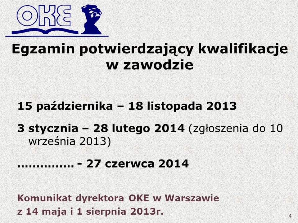 Egzamin potwierdzający kwalifikacje w zawodzie 15 października – 18 listopada 2013 3 stycznia – 28 lutego 2014 (zgłoszenia do 10 września 2013) ……………