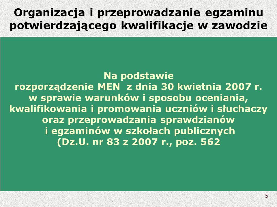 Organizacja i przeprowadzanie egzaminu potwierdzającego kwalifikacje w zawodzie Na podstawie rozporządzenie MEN z dnia 30 kwietnia 2007 r. w sprawie w