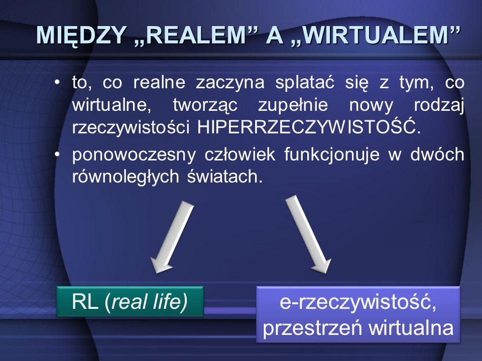 MIĘDZY REALEM A WIRTUALEM to, co realne zaczyna splatać się z tym, co wirtualne, tworząc zupełnie nowy rodzaj rzeczywistości HIPERRZECZYWISTOŚĆ.