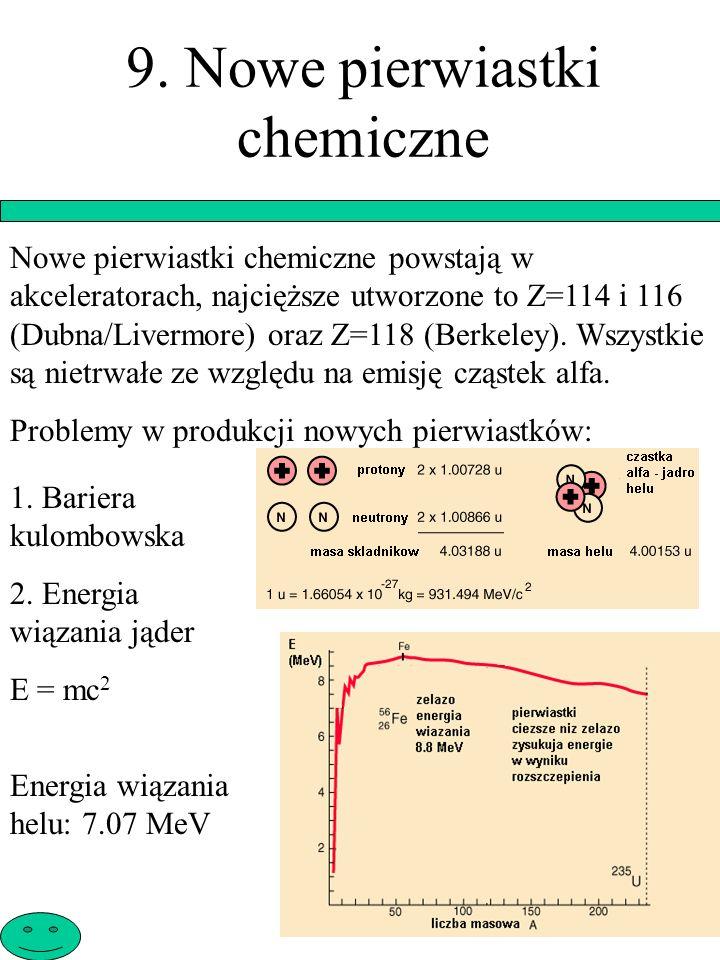 9. Nowe pierwiastki chemiczne Nowe pierwiastki chemiczne powstają w akceleratorach, najcięższe utworzone to Z=114 i 116 (Dubna/Livermore) oraz Z=118 (