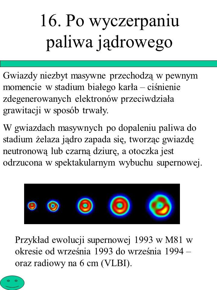 16. Po wyczerpaniu paliwa jądrowego Gwiazdy niezbyt masywne przechodzą w pewnym momencie w stadium białego karła – ciśnienie zdegenerowanych elektronó