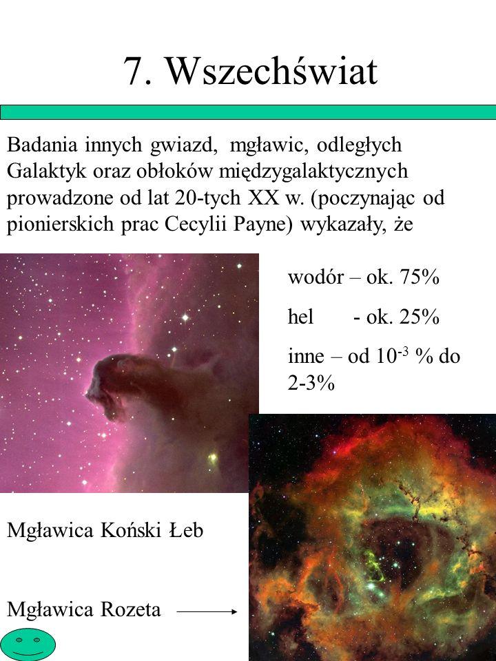 7. Wszechświat Badania innych gwiazd, mgławic, odległych Galaktyk oraz obłoków międzygalaktycznych prowadzone od lat 20-tych XX w. (poczynając od pion