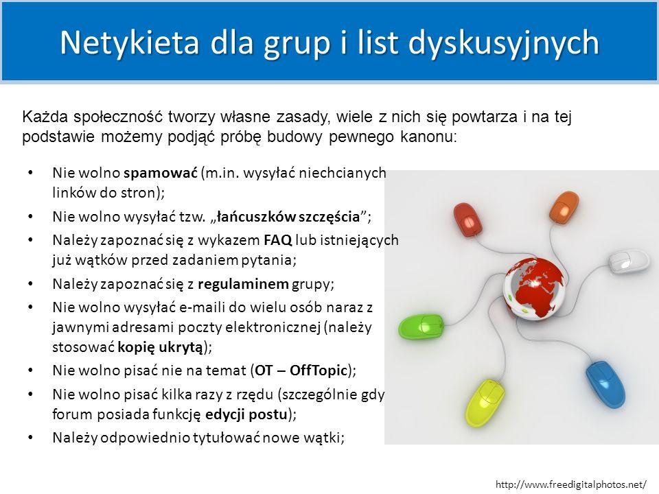 Nie wolno floodować (wielokrotnie wysłać tej samej wiadomości lub wielu różnych wiadomości w bardzo krótkich odstępach czasu, na kilka for jednocześnie); Należy przestrzegać zasad dotyczących polskich znaków diakrytycznych – są one zależne od miejsca i regulowane odpowiednim zapisem w lokalnej Netykiecie (w niektórych kanałach IRC źle widziane jest używanie polskich liter, natomiast na wielu forach internetowych pisanie bez polskich znaków bywa krytykowane; sprawy te regulowane są czasem); Należy zapoznać się z FAQ danego kanału/forum/czatu i przestrzegać zawartych tam reguł; Netykieta dla usług interaktywnych (czaty, komunikatory, fora dyskusyjne) Należy stosować zasady używania różnych języków na kanałach wielonarodowościowych; Nie wolno zaczepiać, nagabywać osób, które sobie tego nie życzą; Należy zachowywać się kulturalnie, nie wolno obrażać innych i marnować ich czasu; http://www.freedigitalphotos.net/