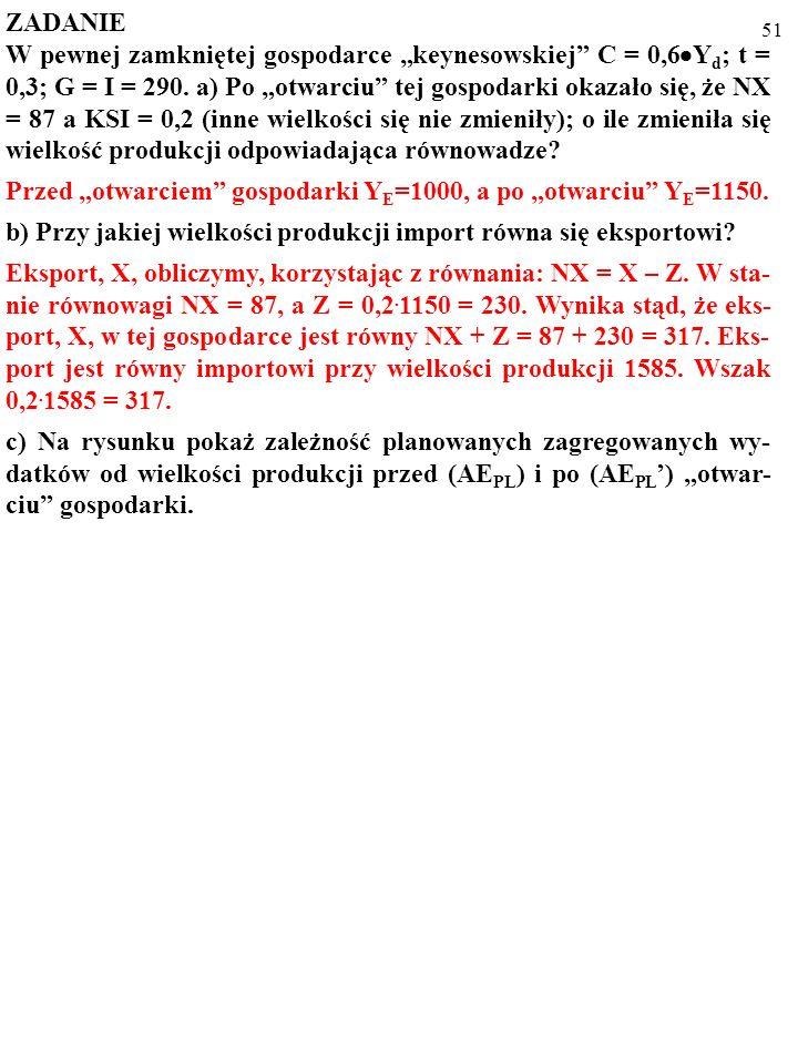 50 ZADANIE W pewnej zamkniętej gospodarce keynesowskiej C = 0,6 Y d ; t = 0,3; G = I = 290. a) Po otwarciu tej gospodarki okazało się, że NX = 87 a KS