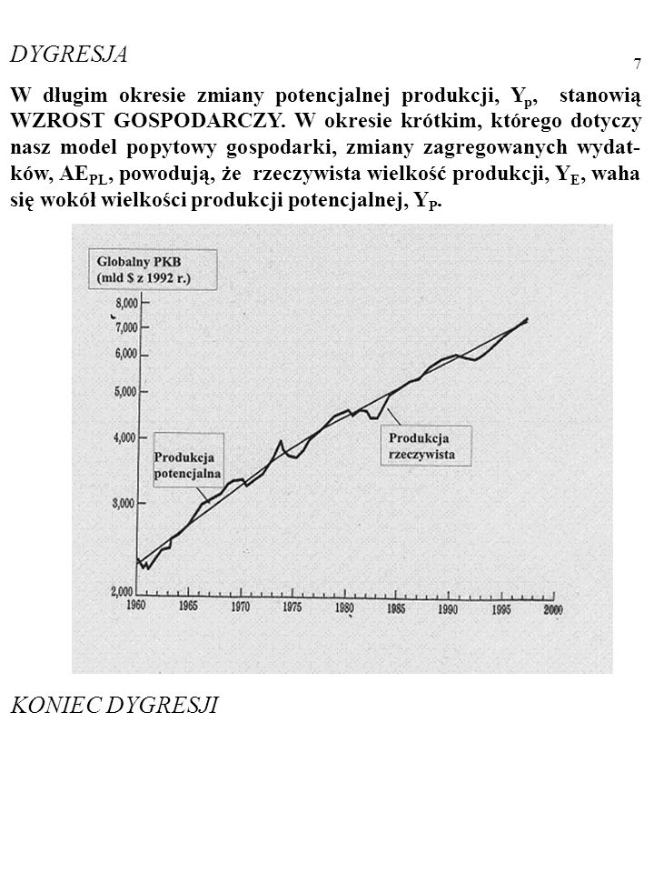 6 Y E =AE PL Uwaga! Chodzi o RZECZYWISTĄ produkcję, Y, w gospodarce, a nie o produkcję POTENCJALNĄ, Y p … RZECZYWISTA PRODUKCJA stanowi ilość dóbr nap
