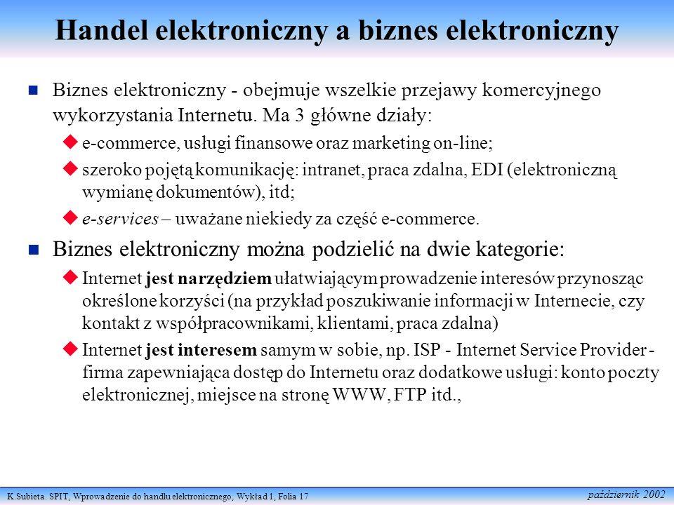 K.Subieta. SPIT, Wprowadzenie do handlu elektronicznego, Wykład 1, Folia 17 październik 2002 Handel elektroniczny a biznes elektroniczny Biznes elektr