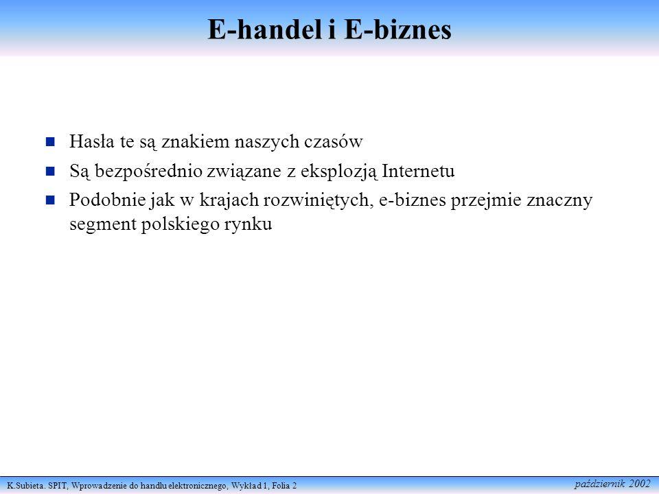 K.Subieta. SPIT, Wprowadzenie do handlu elektronicznego, Wykład 1, Folia 2 październik 2002 E-handel i E-biznes Hasła te są znakiem naszych czasów Są