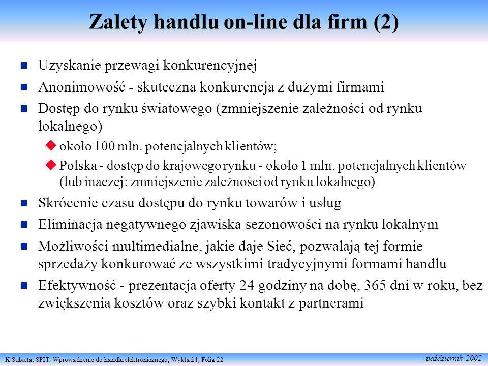 K.Subieta. SPIT, Wprowadzenie do handlu elektronicznego, Wykład 1, Folia 22 październik 2002 Zalety handlu on-line dla firm (2) Uzyskanie przewagi kon