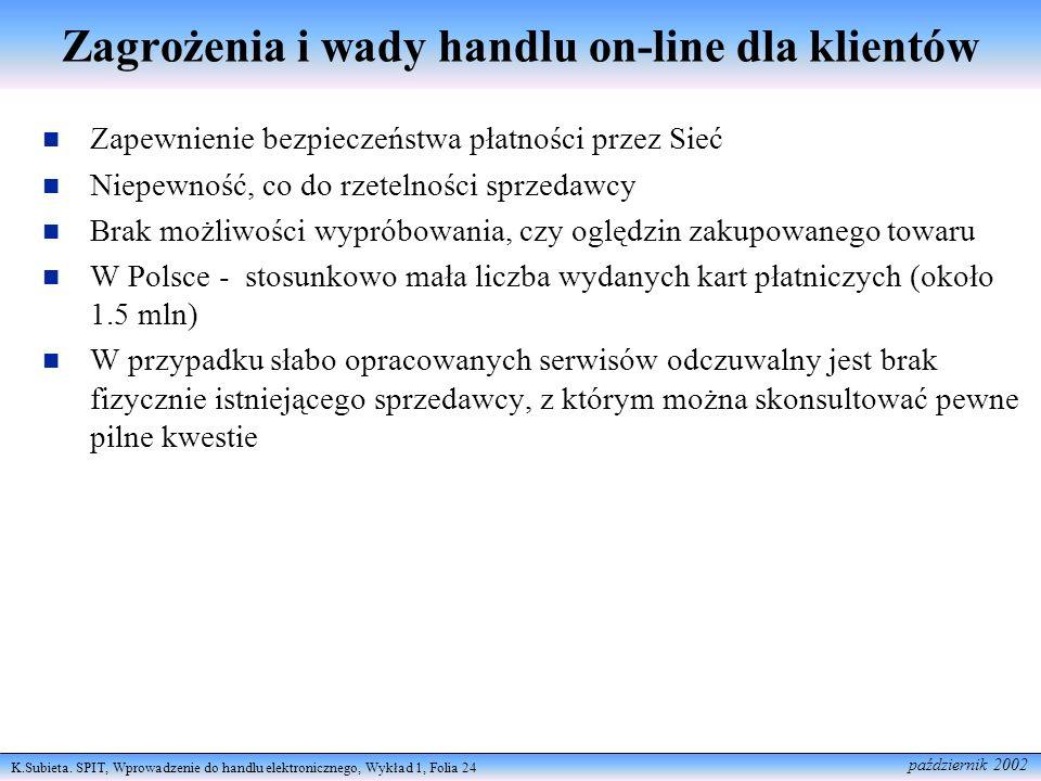 K.Subieta. SPIT, Wprowadzenie do handlu elektronicznego, Wykład 1, Folia 24 październik 2002 Zagrożenia i wady handlu on-line dla klientów Zapewnienie